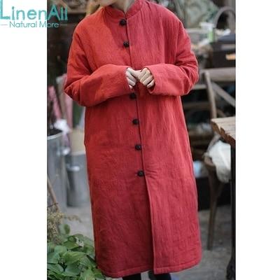 100% Linen clothing women's red winter skin linen loose warm long parkas outerwear coat
