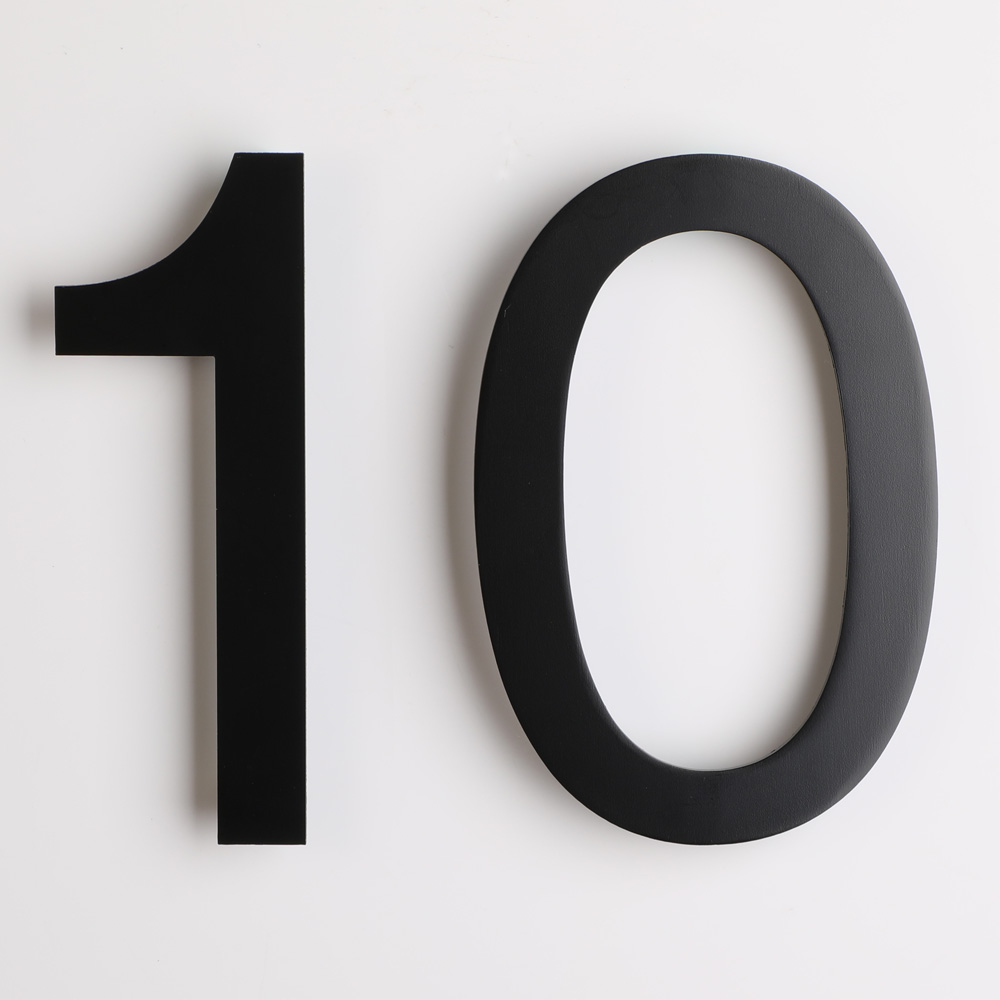 """Large 10/""""//25cm floating 3D house numbers 30mm depth brushed stainless steel"""