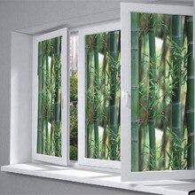 """ПВХ конфиденциальности дома Спальня Ванная комната стекло окна плёнки лечения декор зеленый бамбук 3"""" x 20""""(92 см x 50 см"""