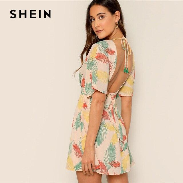 SHEIN Plunge Neck Tied Open Back Tropical Dress Deep V Neck Fit and Flare Women Dresses 2019 Short Sleeve Summer Dress 1