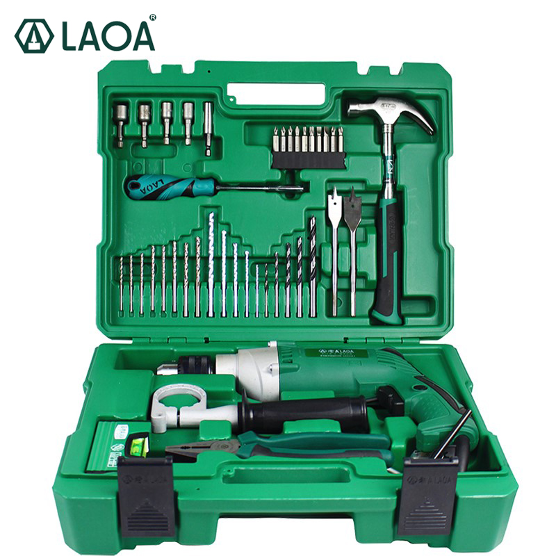 LAOA Multifunctinal 50PCS Electric Impact Drill Set of Tools Power Tools With Percussion drills Screwdriver Pliers for household multi purpose impact drill for household use la414413 upholstery drilling wall percussion impact drill set power tools 220v
