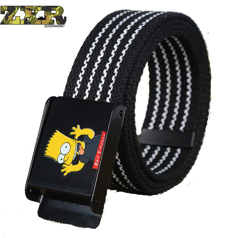 Handsome Cool Canvas Simpson   Belt   Men's Fashion Practical Heavy Tactical Military Waistband Free Soldier Nylon Buckle Waist   Belt