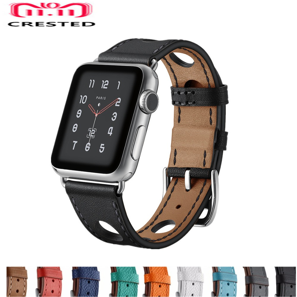 CRESTED Genuine Leather loop For Apple Watch band 42mm 38mm iwatch series 3 2 1 Single Tour wrist bands Bracelet  watchband belt