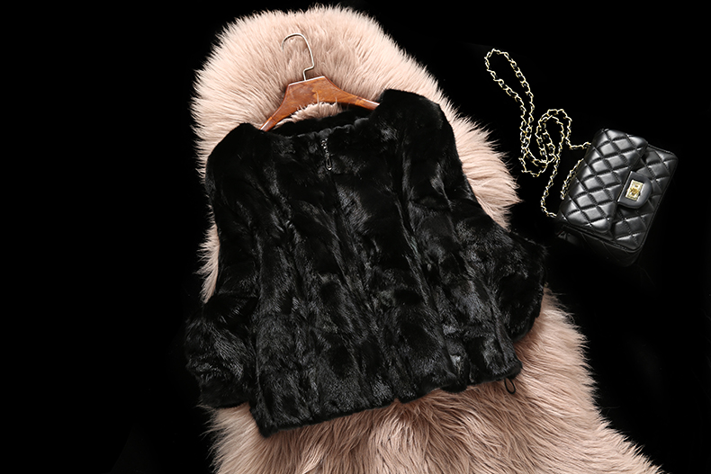 Free shipping new real/genuine mink fur coat women's winter fashion batwing sleeve jacket shawl ladies black color fur outwear