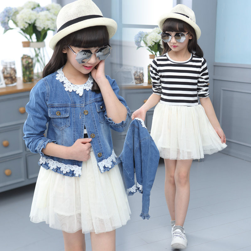 2017 Spring Autumn Girls Denim Jackets + Striped Dress 2 Piece Clothing Sets Fashion Children Clothing 3 4 6 8 10 12 Years children clothing sets spring cotton girls clothing sets fashion high quality denim coat page 3
