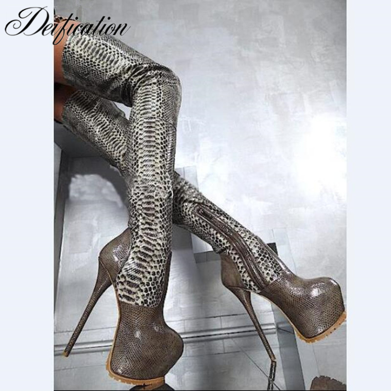 Deification Sexy Botas Mujer High Platform Over The Knee Boots Serpentine Genuine Leather Thigh High Boots Party Shoes Sapato