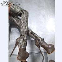 Апофеозом Sexy Botas Mujer на высокой платформе Сапоги выше колена под змеиную кожу Высокие сапоги до бедра из натуральной кожи обувь для вечерино