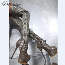 Deification Sexy Botas Mujer High platform over the knee boots Serpentine Genuine Leather Thigh Boots Party Shoes Sapato