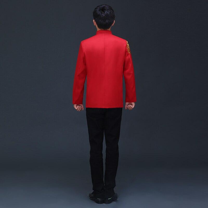 Vêtements chinois d'outre-mer style traditionnel mariage haut bleu marié dragon robe de soirée rouge haut slim rouge tang costume chinois tunique - 4