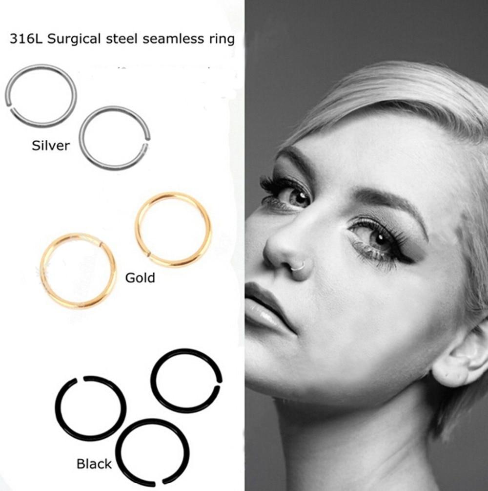 316L Surgical Steel Septum Mustache Silver or Black