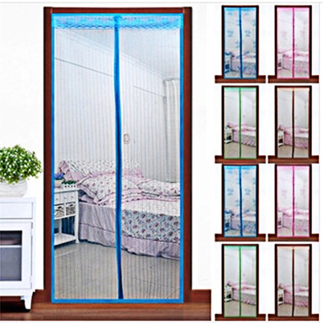 New Mesh Door Curtain Magnetic Snap Tulle Door Screen Prevent Fly Bug  Insect Mosquito 6 Colors