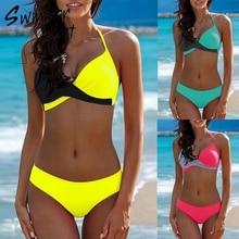 Push up sexy swimsuit plus size swimwear women bathers Halter brazilian bikini 2019 new Tiangle micro bikini set bathing suit XL