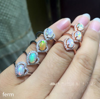 KJJEAXCMY fine jewelry 925 pure silver ring with natural opal set in the wholesale of new cheap full fire color