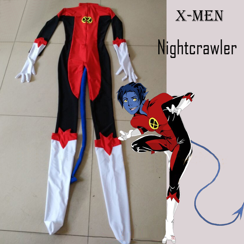 Free Shipping X- Men Nightcrawler Kurt Wagner Superhero Male Costume Red Lycra Spandex Catsuit with Tail for Halloween Party