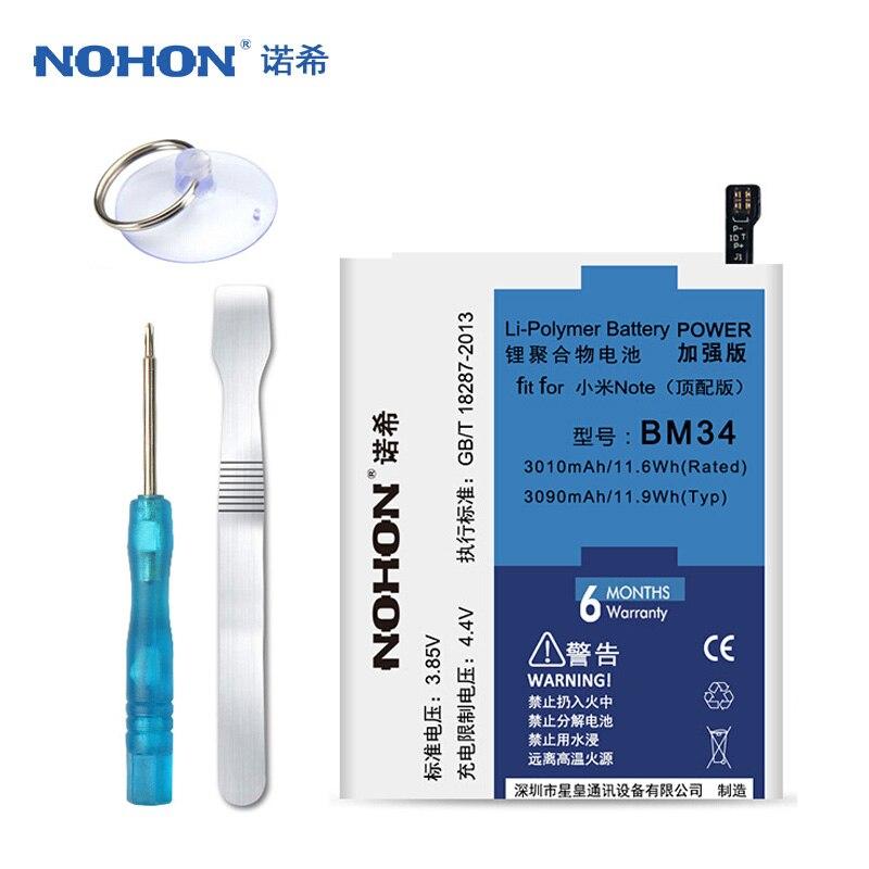Оригинальный NOHON BM34 Батарея для Xiaomi Mi Note Pro 4 ГБ Оперативная память 3090 мАч высокое Ёмкость Замена Батарея бесплатная инструменты Розничная посылка