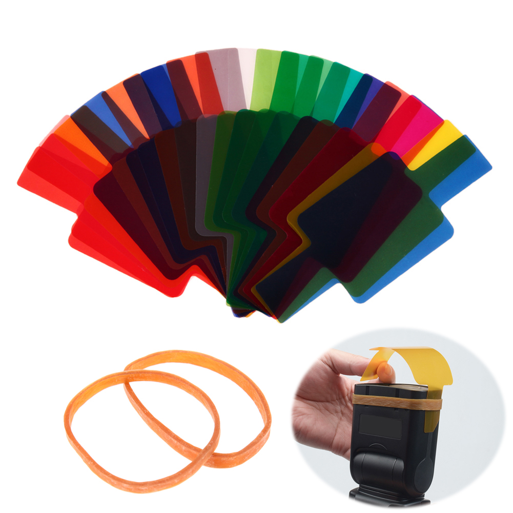 20pcs/lot Flash Speedlite Color Filters Mixed Colors Photographic Flash Gels Filters Card Lighting Diffuser For Canon Yongnuo