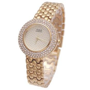 2016New Golden/Silver G&D Watch Women Analog Quartz Watch Stainless Steel Belt  Relojes Mujer Round Bracelet Wrist Watch Simple