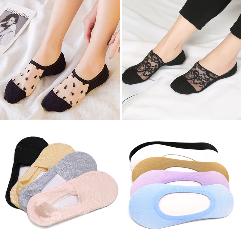 1/3/4/5pair Solid Women Ankle Breathable Low Sock Seamless Invisible Socks Slippers Female No Show Socks Non-slip Boat Socks