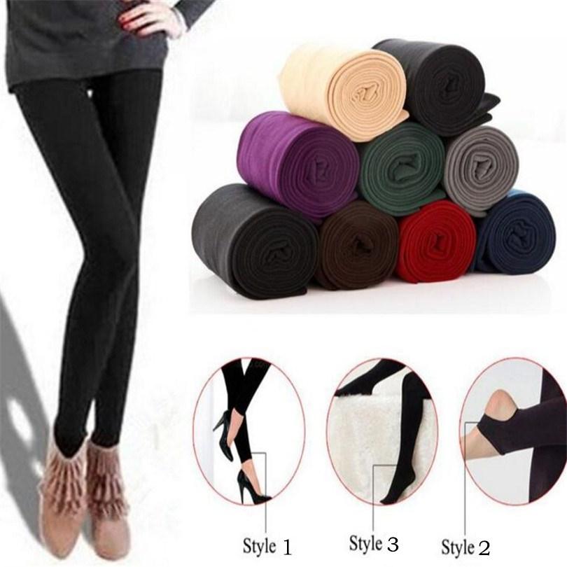 2019 Women Autumn Winter Thick Warm Legging Brushed Lining Stretch Fleece Pants Trample Feet Leggings High