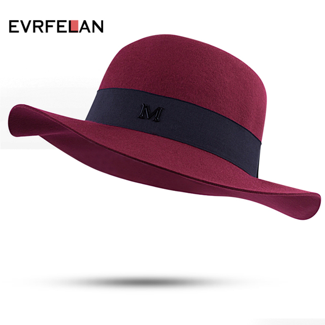 2019 Wide Brim Wool Felt Top Hat Letter M Brand Vintage Elegant British  Style Ladies Fedora Hat For Women Female Fashion Winter b5290b7750a