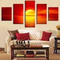 Verbazingwekkende zomer-zonsondergang Moderne Thuis Muur Decor Canvas Foto Art Print MUUR Schilderij Set van 5 Elke Canvas Arts Unframe