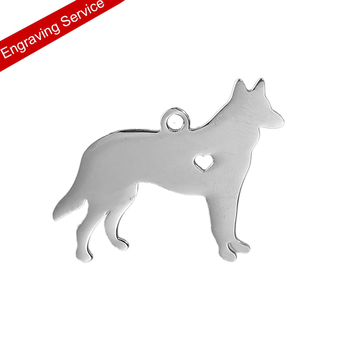 DoreenBeads Stainless Steel Engraving Text Pet Dog Tags Blank Stamping Pendant German Shepherd Animal Dog Has My Heart 3 x 2.3cm