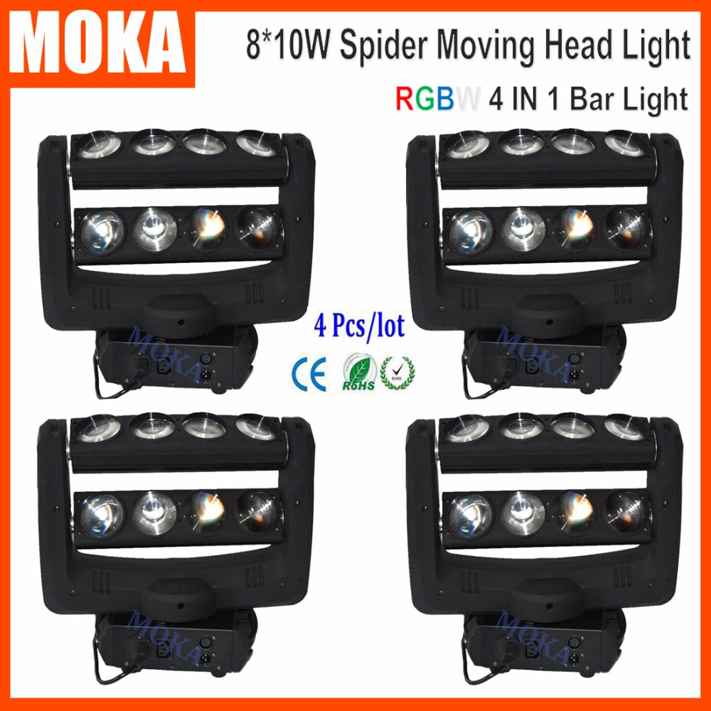 4PCS/LOT Wash Dj Centerpiece Light Led Moving DMX 4 in 1 Cree Head Stage Light for Halloween