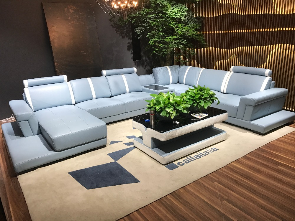 Sofa Set Perabot Ruang Keluarga Sofa Modern Sofa Kulit Deisgn Barang No 5143