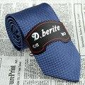 Navy Blue 3.15'' Width Silk Jacquard Woven Gentlemen Classic Man's Slim Tie Necktie JS19