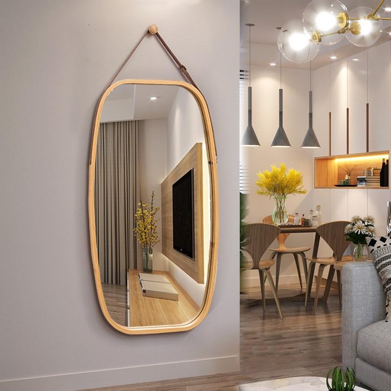 Miroir de salle de bain européen miroir d'usure nordique miroir rond décoratif tenture murale miroir cosmétique rond grand