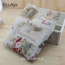 Vintage Linen Cotton linen cloth handmade printing Gerbera DIY fabric