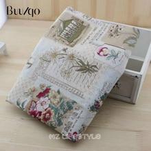 Vintage Lino algodón impresión sobre tela Gerbera DIY hecho a mano textil costura Patchwork para bolsos ropa de vestir
