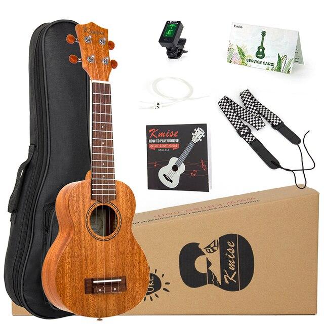 Kmise יוקולילי סופרן קונצרט גוני טנור Ukelele 21 אינץ 15 סריגים 4 מחרוזת גיטרה עם גיג תיק טיונר רצועה למתחילים