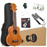 Kmise Ukelele Kit de concierto la Soprano Tenor caoba Uke 21 23 26 30 4 cuerdas de guitarra con trabajo bolsa sintonizador correa para principiantes