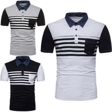 ZOGAA High Quality Fashion Casual Brand Men Summer Cotton Short Sleeve Diagonal Stripes Patchwork Polo Shirt Men Top with Pocket все цены