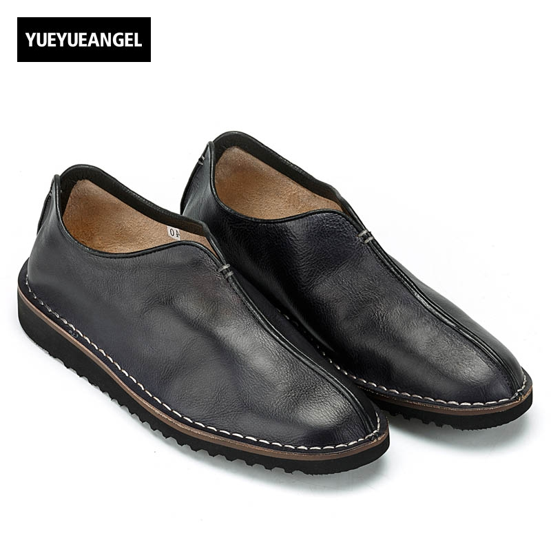 Vintage Hot Sale High Quality Brand Mens Slip On Soft Flat Comfort Genuine Leather Cow Casual Shoes Male Coffee Loafer Plus Size slip on men casual shoes male sandal new fashion genuine leather low heel high quality brand korean style thick bottom plus size