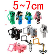 New Hot Minecraft keychain 1pcs/lot Hangers Series 2 Figure Toys Models MC Backpack Creeper Keychain Children Gift Promotion(China)