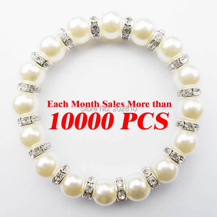 2019 fine quality Jewelry factory wholesale trendy women white Pearl(10mm) rope chain strand bracelet & bangle