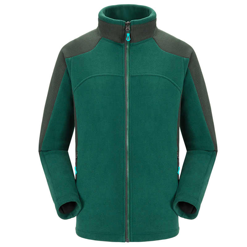 Winter Men Fleece Soft Thermal Stand Collar Jacket Liner Tops Outdoor Sports Climbing Hiking Camping Thicken Warm Patchwork Coat