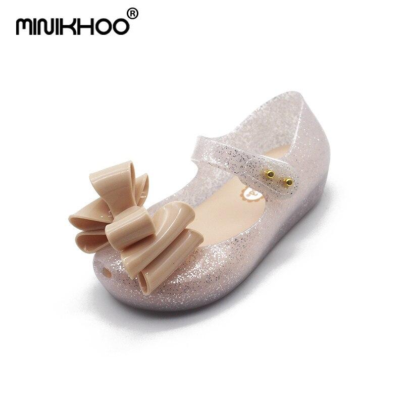 Mini Melissa Original Bow Tie Lovely Girls Jelly Sandals 2018 New Melissa Children Sandals Comfortable Girls Princess Shoes