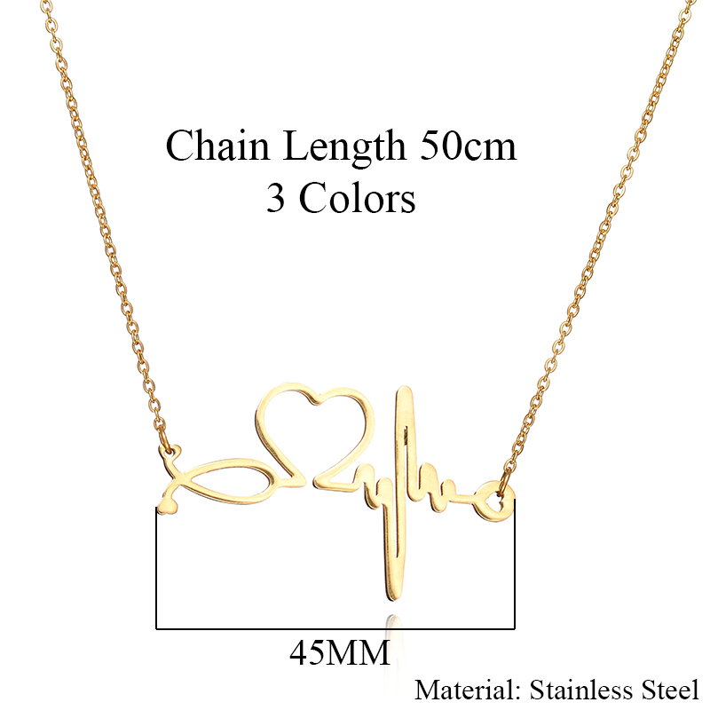 3cd692e30 New Fashion Chain Pendants Necklaces For Women Stainless Steel Silver Gold  Stethoscope Pendant Heart ECG Heartbeat