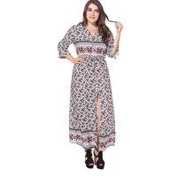 2018 Muslim Women Beach Dress Half Sleeve Plus Size 4XL Printed Long Maxi Dress Middle East