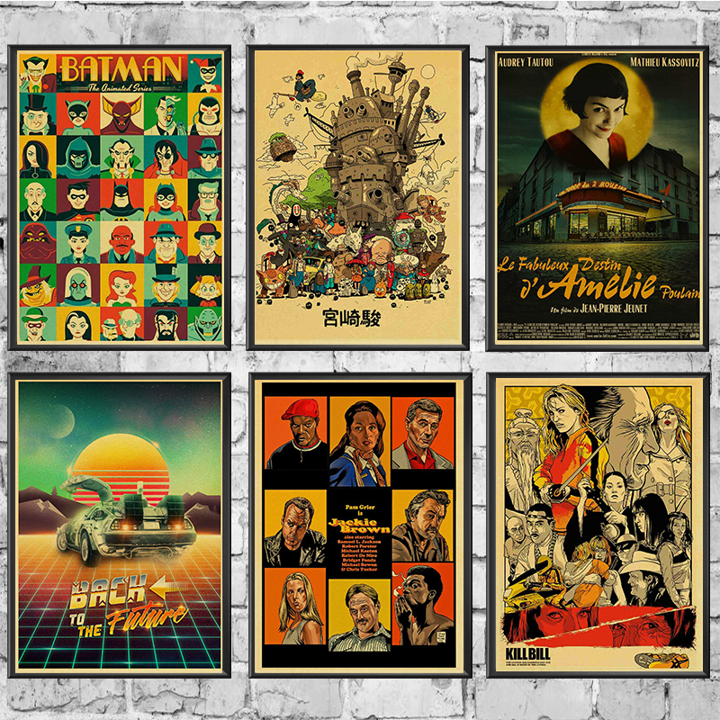 Classic Movie Vintage Poster Kill Bill/Pulp Fiction/Batman/Painting Retro Poster Kraft Paper For Home Bar Wall Decor