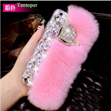 Coque For iPhone 7 Case Luxury Rabbit Fur Diamond Fox Head Rhinestone Bling Case for iPhone 7 4.7/7 Plus Crystal Back Cover Capa