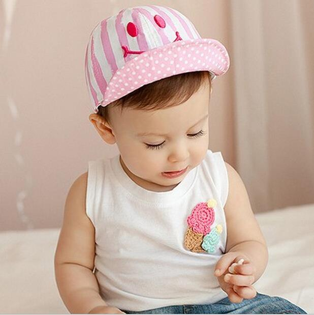 Cute Autumn Newborn Baby Hat Girl Boy Smile Striped Baseball Cap