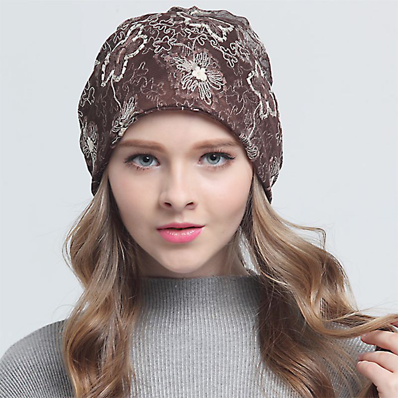 Winter Casual Lace Flower Hats For Women caps Baggy Beanie gorro Oversized  Dual Purpose Cap Warm Skullies Toucas Gorros winter casual cotton knit hats for women men baggy beanie hat crochet slouchy oversized ski cap warm skullies toucas gorros 448e