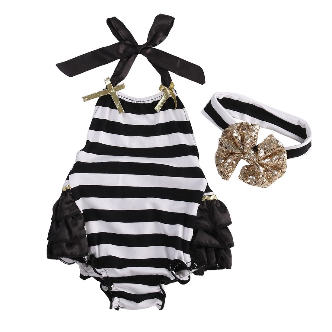 Baby Rompers Girl Baby Costumes Set Stripe Floral Sleeveless Halter Romper Jumpsuit Sunsuit Outfit With Headband