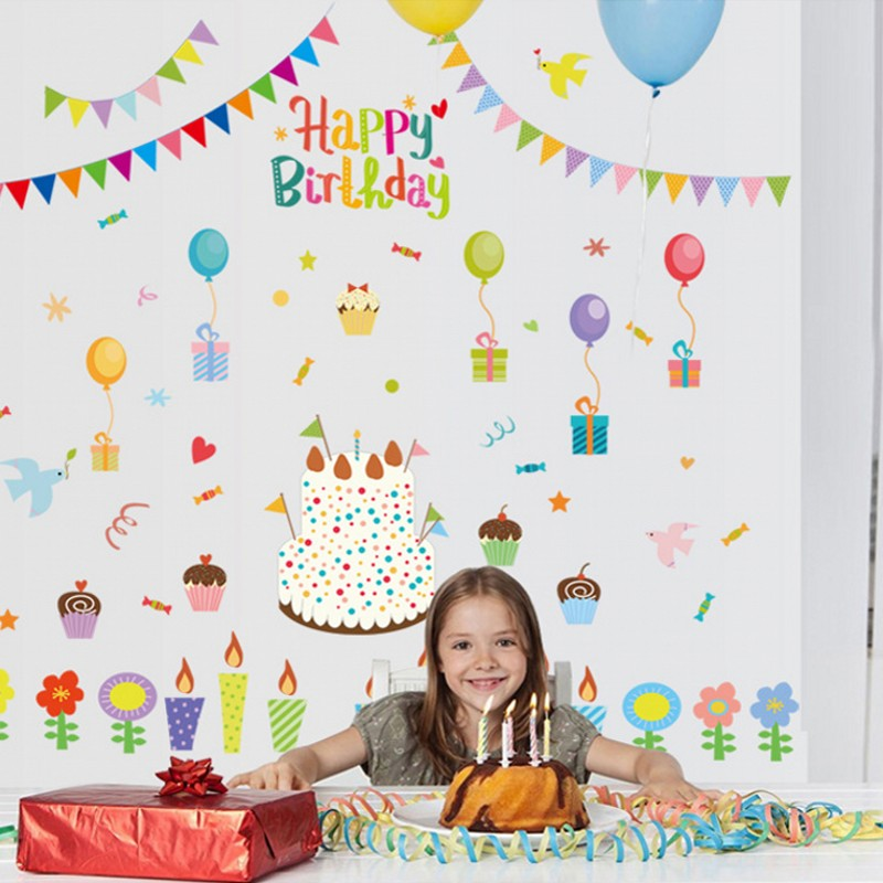1pc kids happy birthday pvc wall sticker cartoon candy candle gift