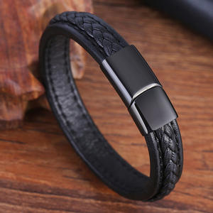 Charm Bracelet Jewelry Bangles Men Magnetic Vintage Genuine-Leather Women Buckle New-Fashion