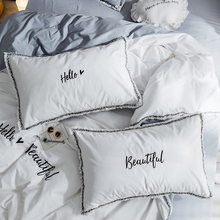 Cilected 1 Pair Embroidery Pillowcase Bedding 100% Cotton Pillow Cover White Pink Hello Beautiful Letters For Couple Bedroom